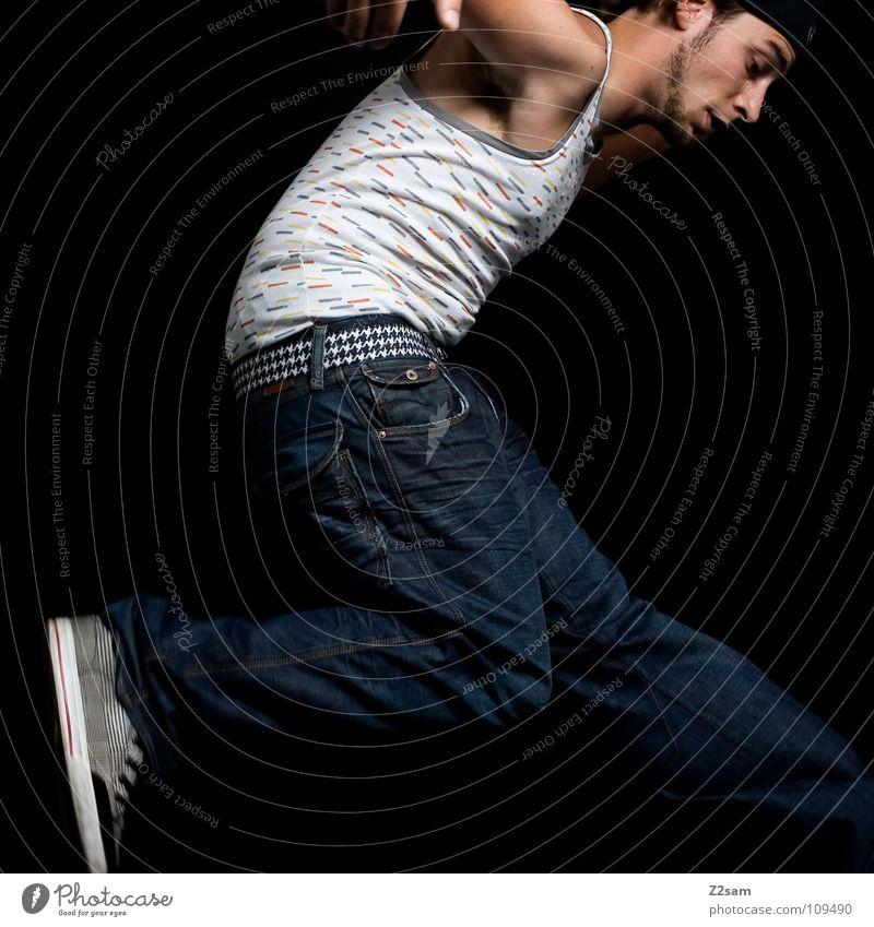 Human being Man White Blue Black Dark Jump Style Movement Legs Air Footwear Flying Tall Modern Masculine