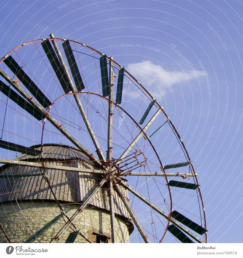 Sky Blue Clouds Movement Wood Stone Power Metal Wind Energy Circle Energy industry Tourism Roof Wind energy plant Wheel