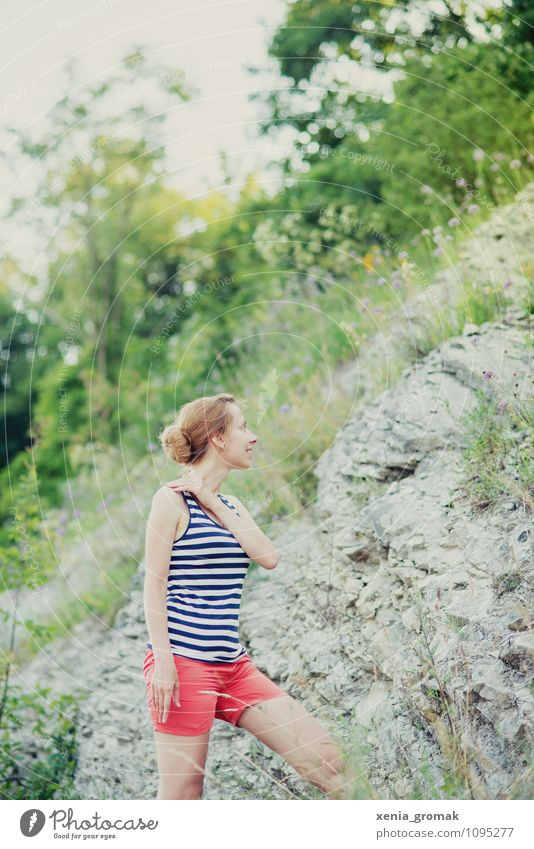 Human being Nature Vacation & Travel Youth (Young adults) Summer Young woman Far-off places Life Grass Playing Freedom Rock Lifestyle Leisure and hobbies