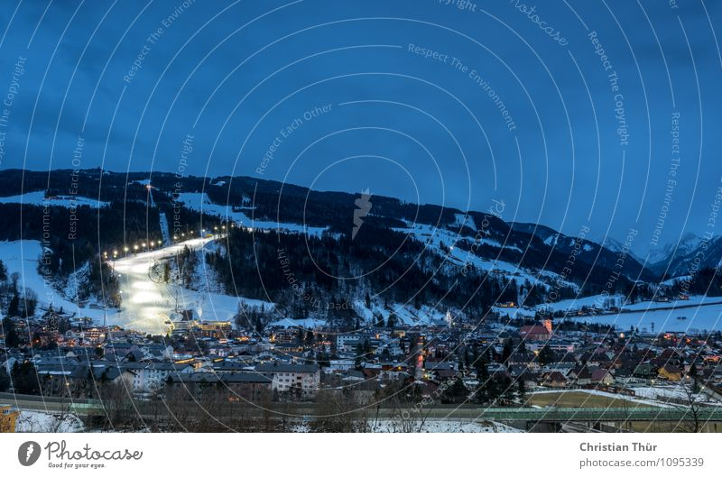 Night Skiing Vacation & Travel Tourism Winter Snow Winter vacation Mountain Night life Entertainment Sports Beautiful weather Ice Frost Hill Peak