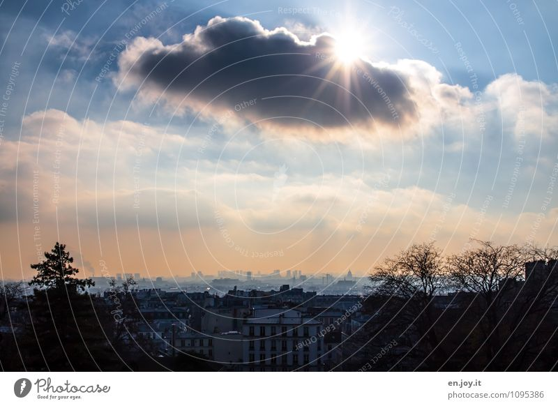 shadow plays Vacation & Travel Trip Far-off places Sightseeing City trip Sky Clouds Horizon Climate Beautiful weather Paris France Town Capital city Skyline