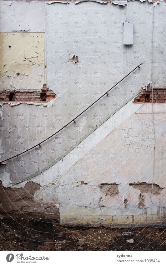Air upwards House (Residential Structure) Construction site Architecture Wall (barrier) Wall (building) Stairs Esthetic End Help Uniqueness Problem solving