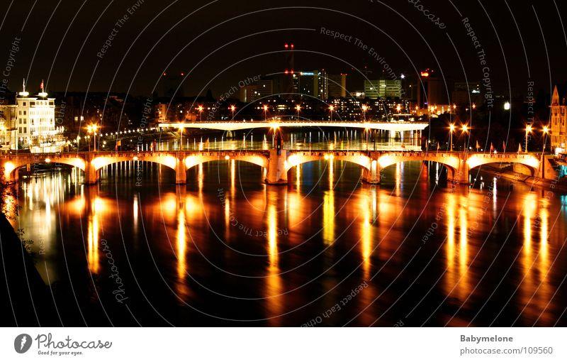 Water City Red House (Residential Structure) Yellow Dark Bright Lighting Transport Bridge Dusk Rhine Night shot Switzerland