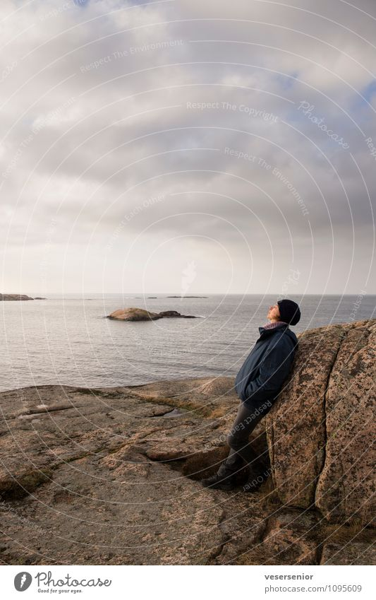 west coast, Sweden 5 Trip Woman Adults 1 Human being 30 - 45 years Sky Rock Coast Relaxation To enjoy Uniqueness Moody Contentment Calm Belief Humble