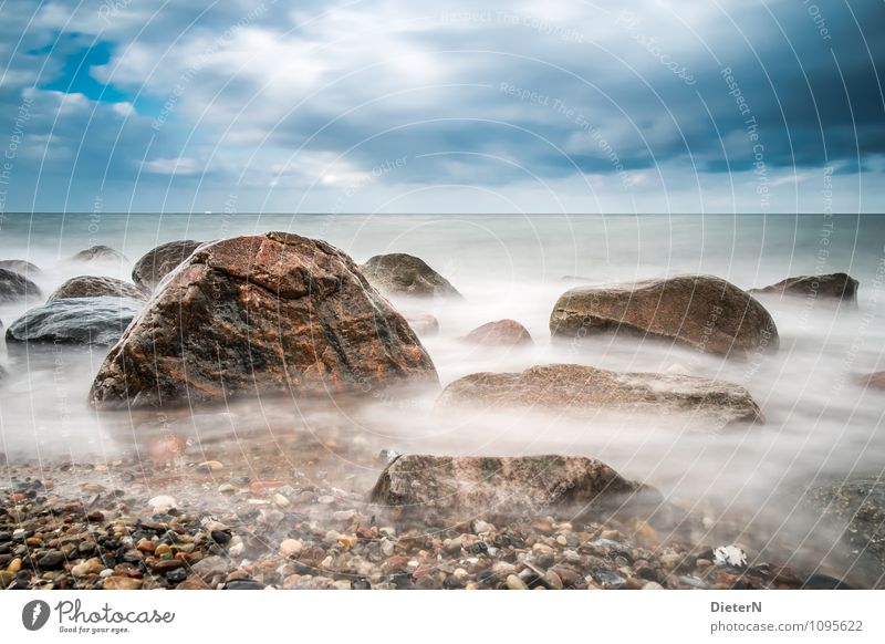 rocks Nature Landscape Earth Air Water Sky Clouds Horizon Weather Bad weather Wind Coast Baltic Sea Ocean Blue Brown Black White Stone Colour photo