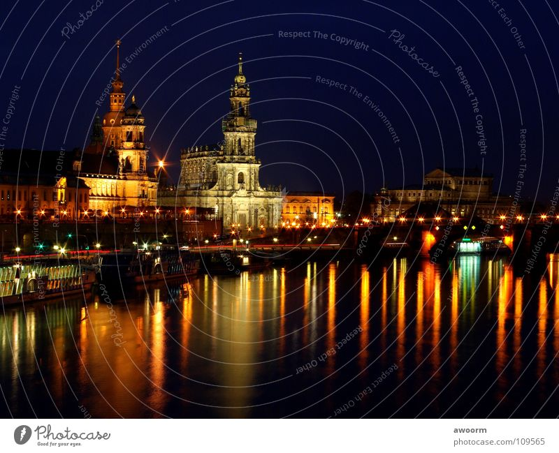 Old Town-Dresden Hofkirche Night Light Semper Opera Steamer Watercraft Elbe River bridge
