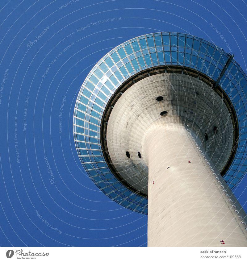 Sky Blue Summer Window Architecture Building Tower Clarity Beautiful weather Duesseldorf Rhine Rheinturm