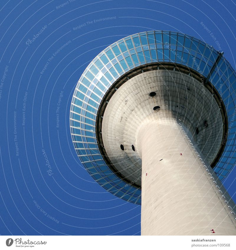 Sky Blue Summer Window Architecture Building Tower Clarity Beautiful weather Duesseldorf Rhine Rheinturm