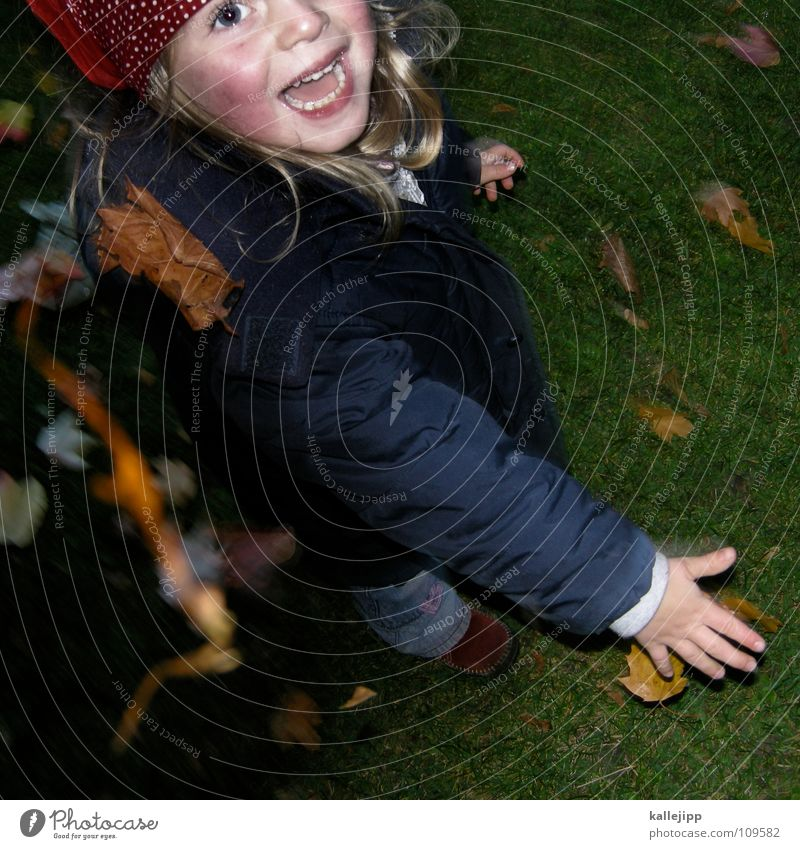sheet distance throw Autumn Playing Leaf Child Throw Hand Girl Grinning Live Life Grass Green Growth Lips Jacket Pants Headscarf Fingers Chance autm Joy holiday