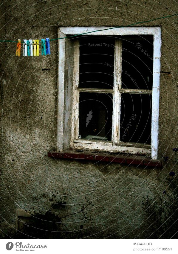 Loneliness Window Sadness Gloomy Village To hold on Derelict Boredom Rural Clothesline Clothes peg Province