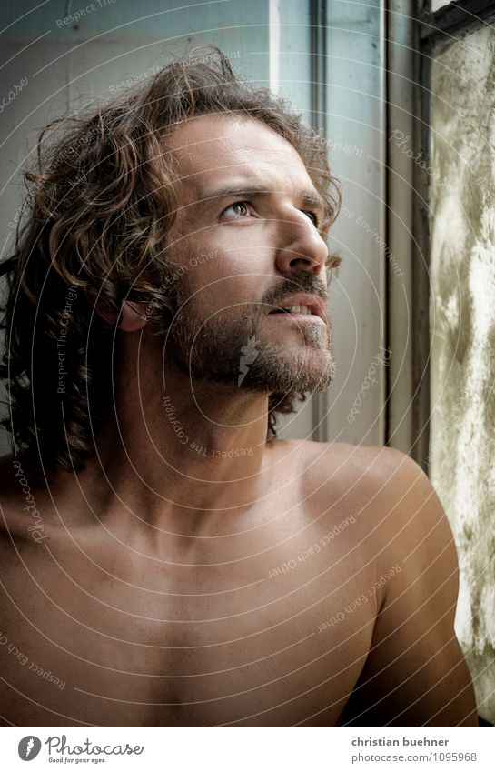 man in the window Masculine Homosexual Man Adults 30 - 45 years Fashion Brunette Long-haired Curl Designer stubble Smiling Looking Esthetic Athletic Authentic
