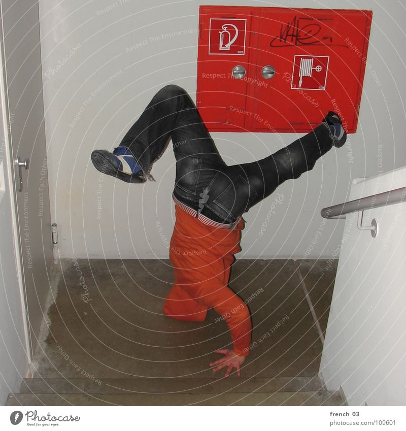 bboys gonna make the noise I Breakdance Staircase (Hallway) White Red Extinguisher Wall (building) Hooded (clothing) Door handle Sweater Sneakers Pants Footwear