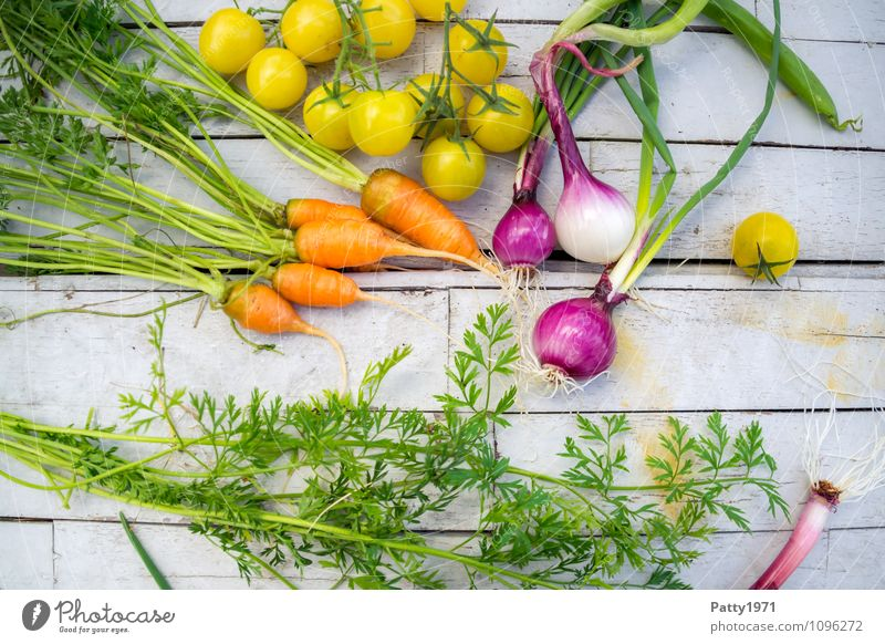 Fresh vegetables on a rustic wooden background Food Vegetable Carrot Onion Tomato Nutrition Organic produce Vegetarian diet Healthy Yellow Green Orange To enjoy