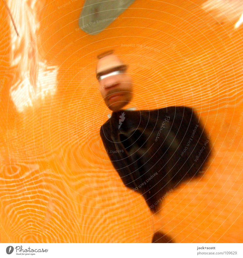 distorted Joy Man Adults 1 Human being 30 - 45 years Wall (barrier) Wall (building) Mirror Mirror image Plastic Dream Hideous Funny Crazy Trashy Orange Emotions