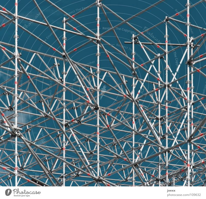 Sky Blue Red Tall Facade Safety Arrangement Network Construction site Connection Steel Obscure Craft (trade) Silver Diagonal Chaos