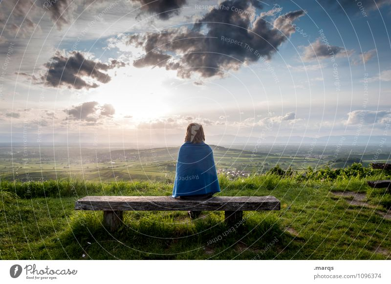 Human being Sky Nature Youth (Young adults) Beautiful Summer Young woman Relaxation Landscape Clouds Far-off places Environment Emotions Meadow Feminine Happy