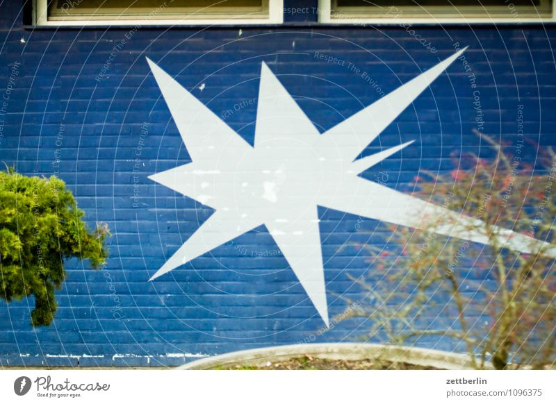 star House (Residential Structure) Wall (building) Wall (barrier) Building Art Mural painting Wall decoration Colour Star (Symbol) White Blue Firecracker