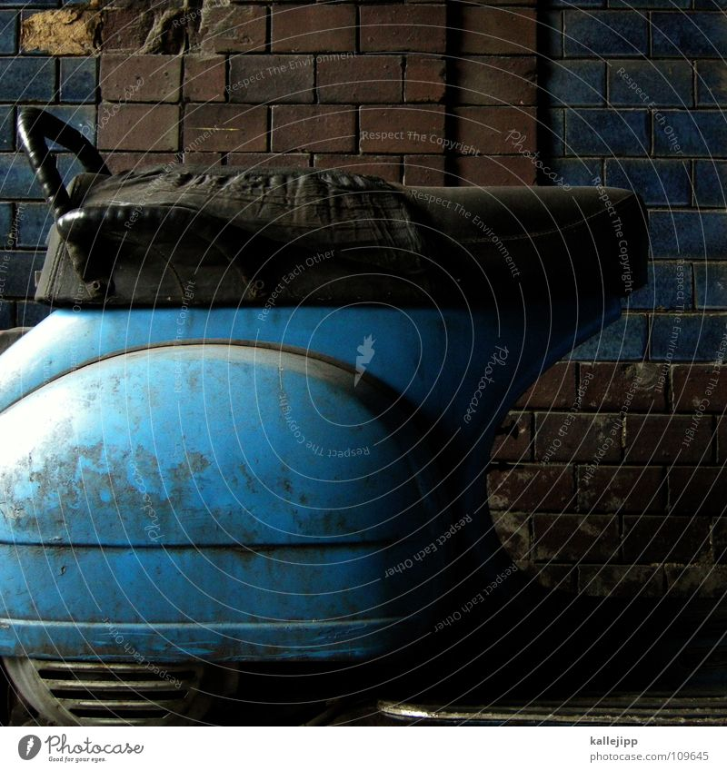 once upon a time Motorcycle Scooter Vintage car Wheel Rubber Pillar Wall (barrier) Rear light Loud Engines Exhaust gas Backyard Fender Wheel rim Spokes Swallow