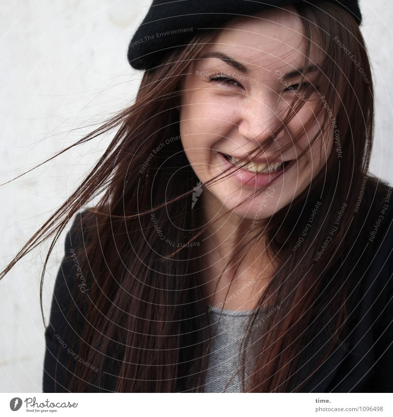 Yuliya Feminine Young woman Youth (Young adults) 1 Human being T-shirt Jacket Cap Brunette Long-haired Observe Relaxation Laughter Looking Happiness Beautiful