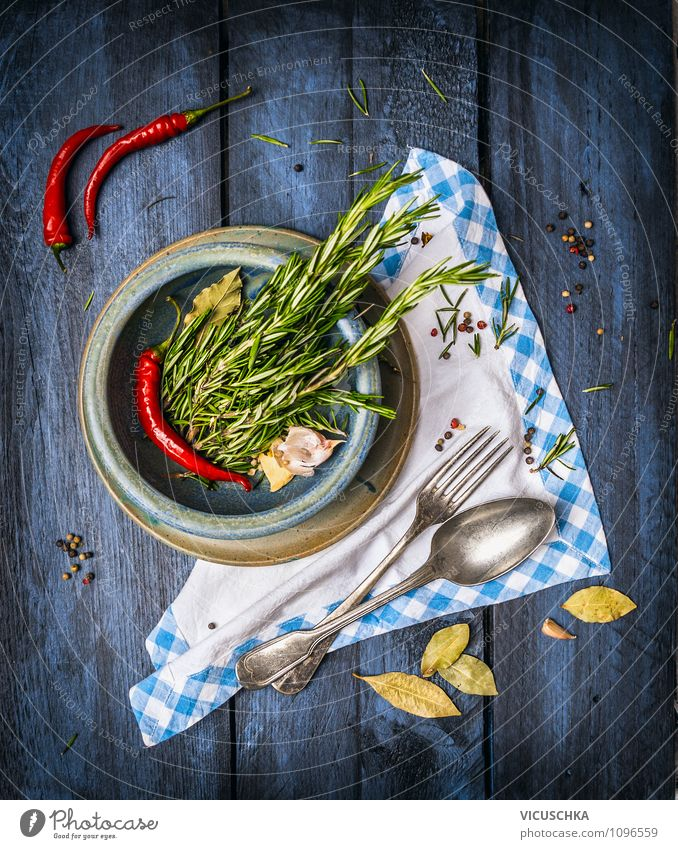 Rustic cuisine with herbs and spices Food Herbs and spices Banquet Crockery Plate Bowl Fork Spoon Style Design Healthy Eating Life Summer Table Kitchen Nature