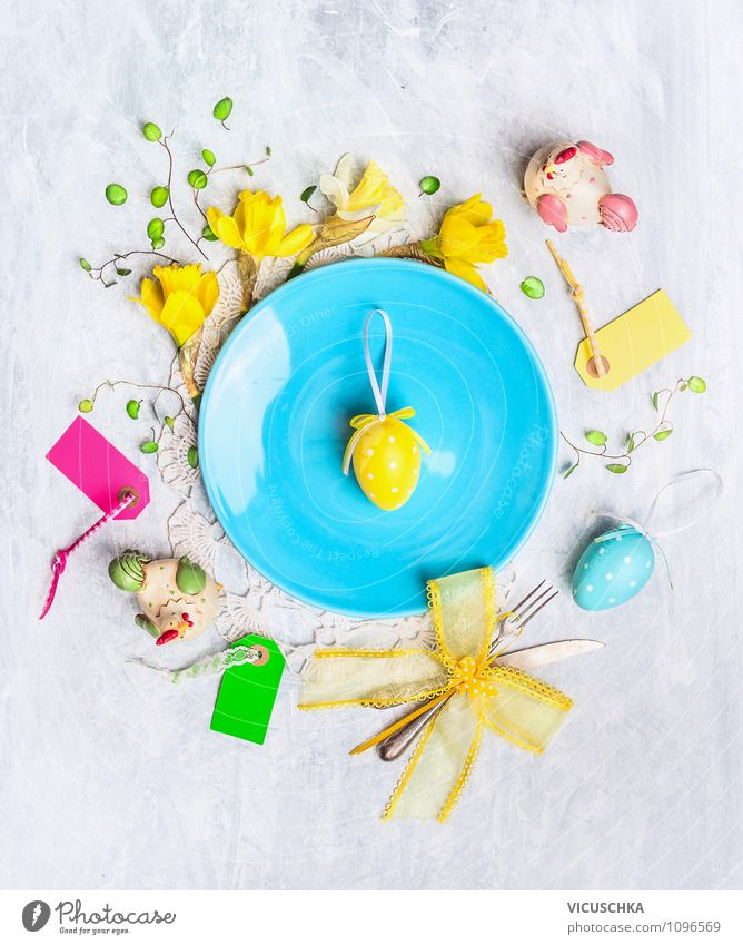 Easter decoration with eggs and flowers Plate Cutlery Knives Fork Style Design Joy House (Residential Structure) Interior design Decoration Table