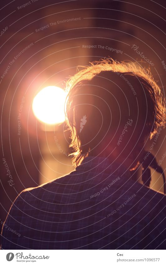 Youth (Young adults) City Sun Loneliness Red Young man 18 - 30 years Adults Hair and hairstyles Head Orange Gold Music Back Communicate Uniqueness
