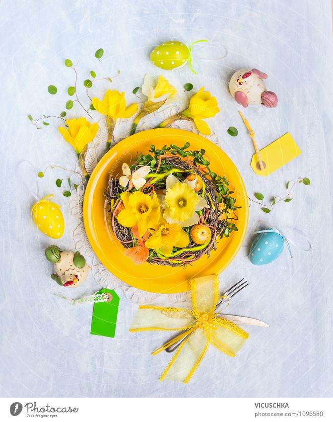 Yellow plate with Easter eggs and decoration Lifestyle Style Design Interior design Decoration Table Feasts & Celebrations Nature Flower Ornament Tradition Nest
