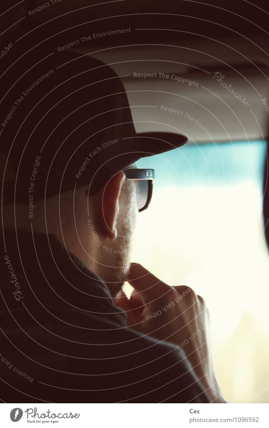 dj Disc jockey Screen Projection screen Masculine Young man Youth (Young adults) Head Window Motoring Sunglasses Cap Looking Black Cool (slang) Concentrate