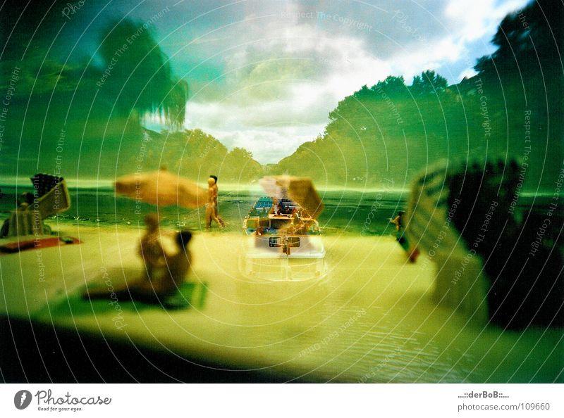 Beach Yellow Colour Coast Watercraft Analog Double exposure Surrealism Beach chair Lomography