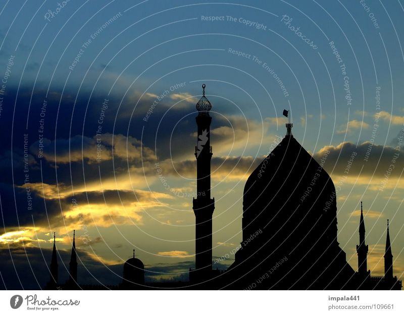 Blue House (Residential Structure) Clouds Dark Weather Industry Factory Tower Prayer Warehouse Progress Domed roof Near and Middle East Tobacco House of worship Minaret