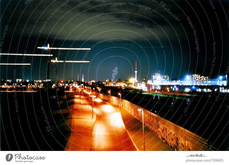 Blue Street Berlin Orange Analog Lantern Crane Berlin TV Tower Oberbaum City Warschauer Bridge