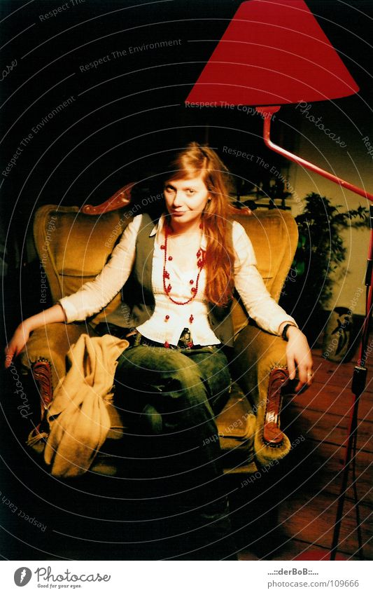 Woman Human being Red Colour Lamp Wood Clothing Analog Chain Armchair Scarf Vest Lomography