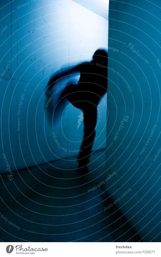 Human being Man Blue Colour Wall (building) Movement Concrete Speed Dangerous Middle Dynamics Loudspeaker Escape Tails Eerie Corridor