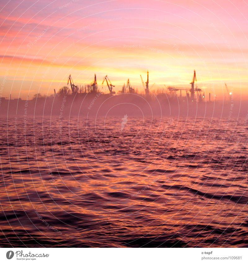 Pure Romanticism Sunset Dusk Fog Reflection Port of Hamburg Harbour Water crane port atmosphere romatics Sun sinks into the sea Jetty