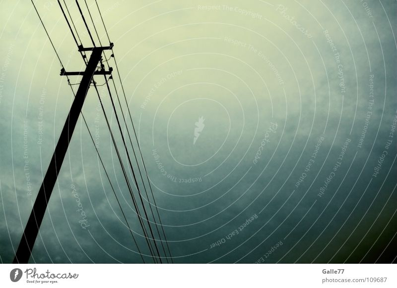 Sky Dark Rain Fear Electricity Dangerous Threat Thunder and lightning Storm Electricity pylon Panic Transmission lines Eerie Darken Dim