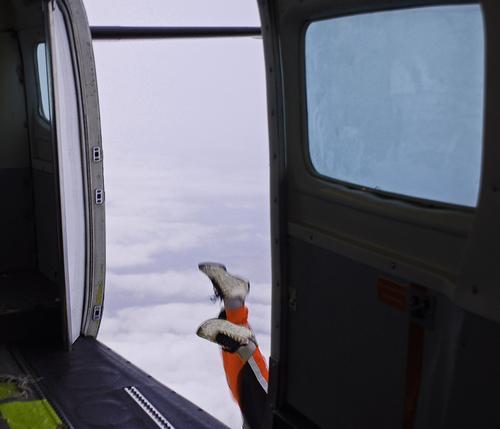 Oops. . . Skydiving Parachute Helmet Sports Junkie Pilot Airplane Window Crazy Yellow Gray Clouds Adventure Man Pants Footwear Airfield Pro Leisure and hobbies
