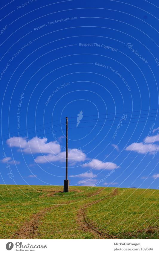 Sky Summer Clouds Loneliness Field Energy industry Electricity Footpath Electricity pylon Pole Transmission lines Tractor Curved
