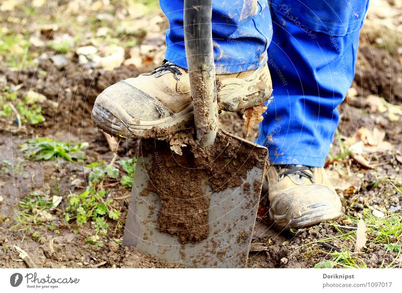 here we go Leisure and hobbies Gardening Human being Man Adults Legs Feet 1 30 - 45 years Spade Work and employment Dirty Healthy Blue Contentment Power