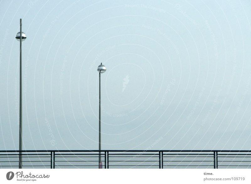 Sky Blue Street Lamp Cold 2 Lighting Metal Safety Bridge Trust Handrail Dreary Sunday morning