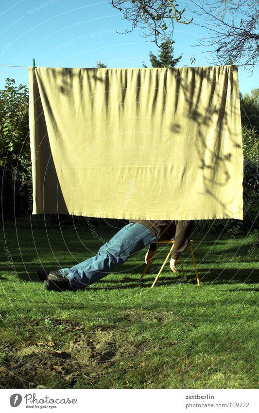 Human being Calm Relaxation Autumn Meadow Grass Garden Sleep Sit Lawn Break Chair Leisure and hobbies Boredom Drape Blanket