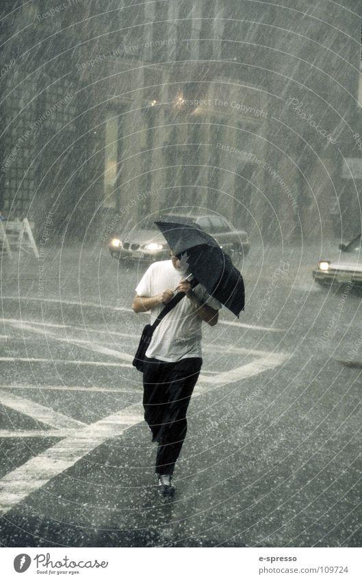 The Raining Man, Soho, New York, N.Y. New York City Art Manhattan Gale Wet Joy Human being Water photographic art