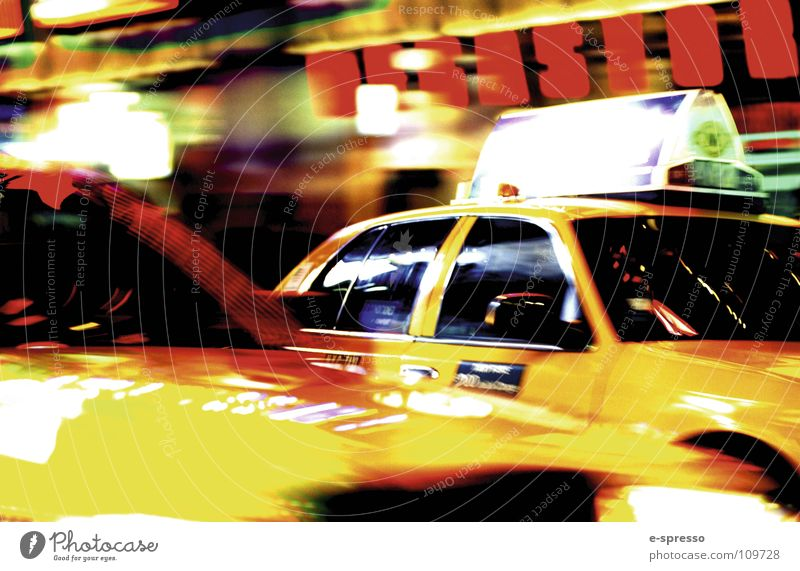 New York Cab, Times Square, Manhattan, New York, N.Y. New York City Taxi Baseball cap Night life Moody Action Speed Yellow nitelife Light
