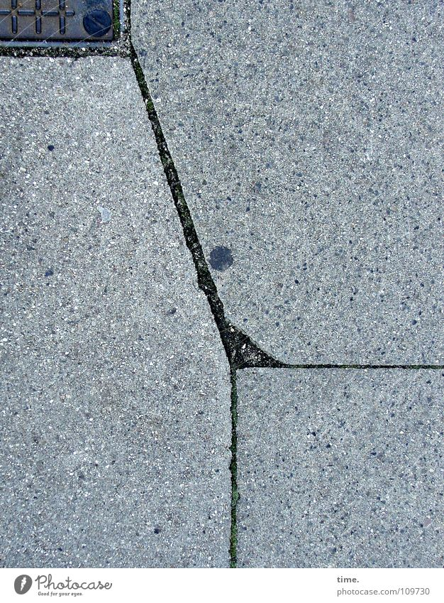 Gray Line Metal Art Concrete Corner Broken Floor covering Sidewalk Traffic infrastructure Crack & Rip & Tear Column Puzzle Paving tiles Arts and crafts