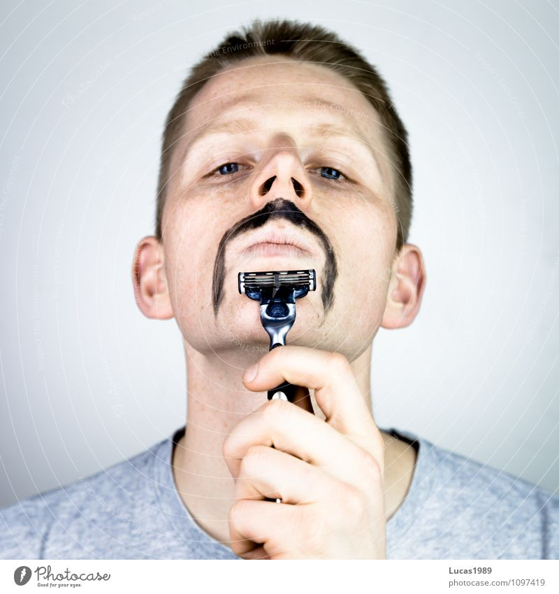 Shaving 2.0 Human being Masculine Young man Youth (Young adults) Man Adults 1 18 - 30 years Facial hair Moustache Razor Wet razor Wet shave Painted Exceptional
