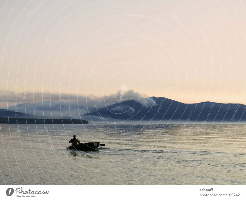 Somewhere in nowhere Twilight Watercraft Deep Fog Physics Lake Ocean Fisherman Sky Evening Russia Blaze Smoke Warmth Baikal