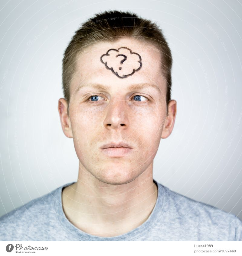 young man with a thought bubble on his forehead Human being Masculine Young man Youth (Young adults) Man Adults 1 18 - 30 years Culture Creativity Question mark