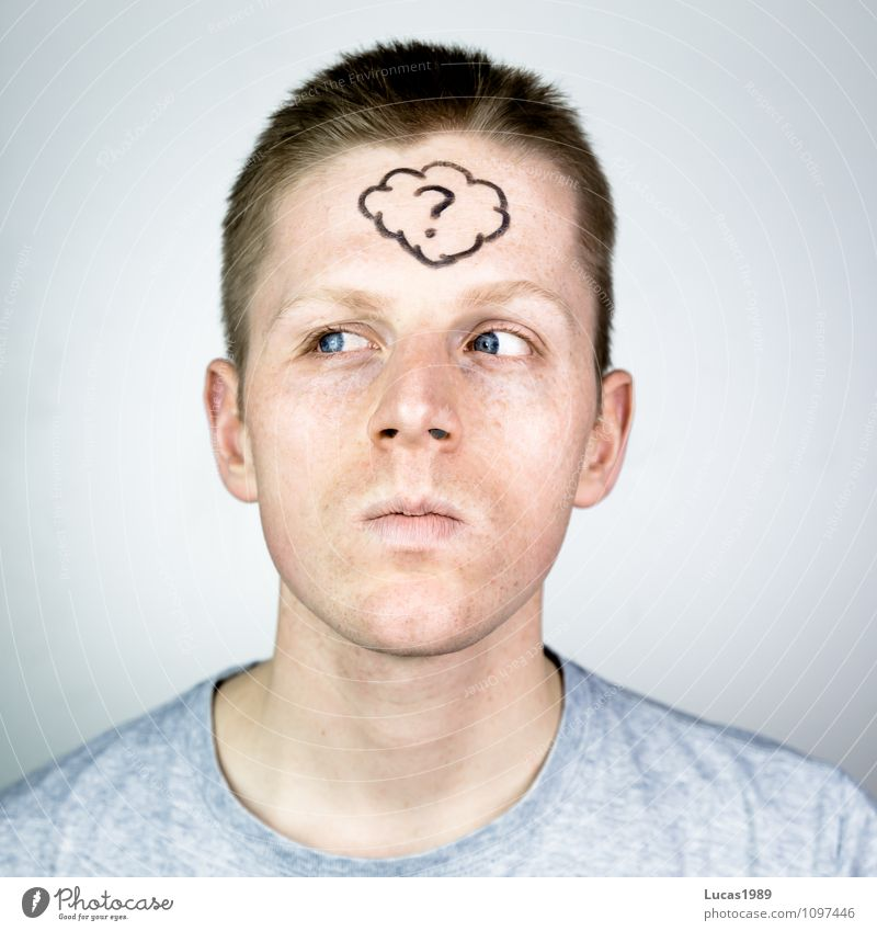 thoughtful young man with a thought bubble on his forehead Human being Masculine Young man Youth (Young adults) Man Adults 1 18 - 30 years Painted Question mark