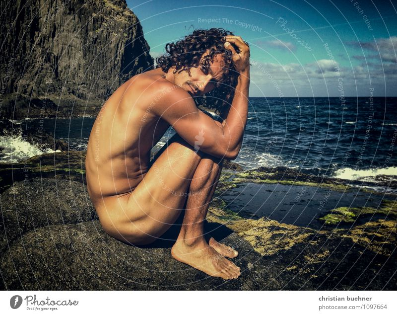 naked guy on the rocky beach Beautiful Personal hygiene Masculine Homosexual 18 - 30 years Youth (Young adults) Adults Summer Beautiful weather Black-haired