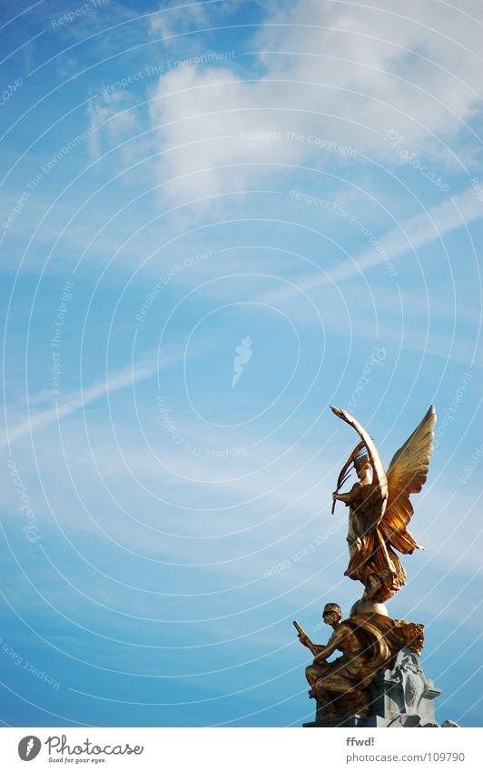 Sky Blue Art Gold Angel Culture Well Statue Monument London Sculpture Landmark Tourist India Calcutta Sightseeing