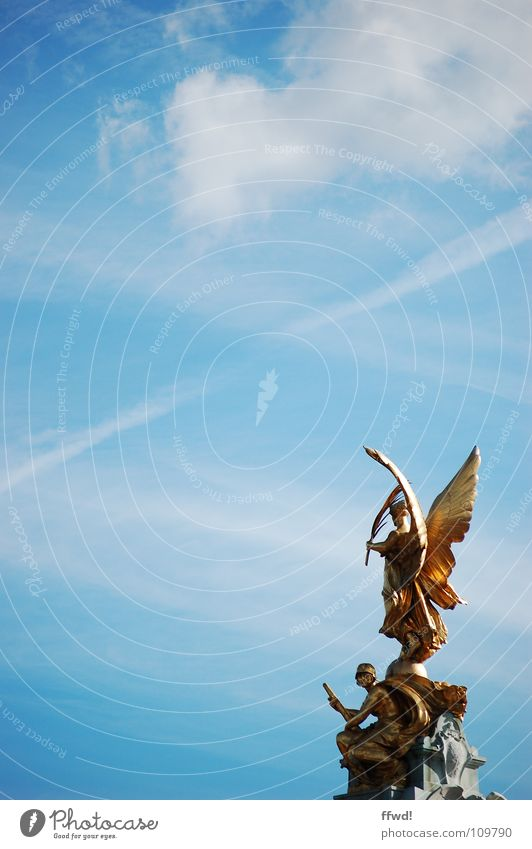Sky Blue Art Gold Angel Culture Well Statue Monument London Sculpture Landmark Tourist India Calcutta Sightseeing
